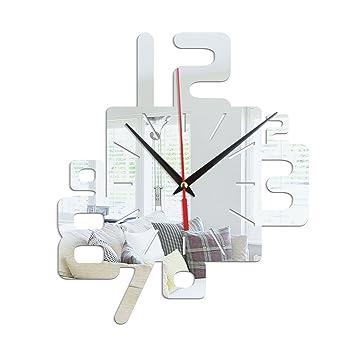 GOUZI Acrílico creativo montaje de pared Reloj de pared Reloj de pared modernos relojes silenciosa pegatina