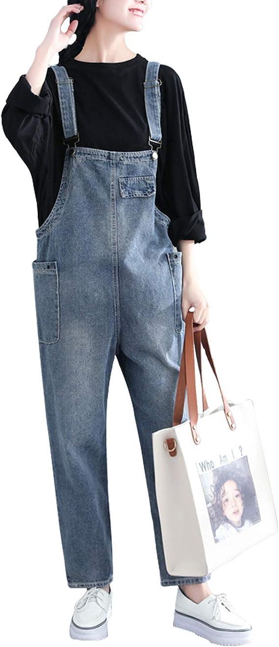 Bigasset Damen Casual Baggy Denim Bib Overall Hose Jeans Jumpsuits