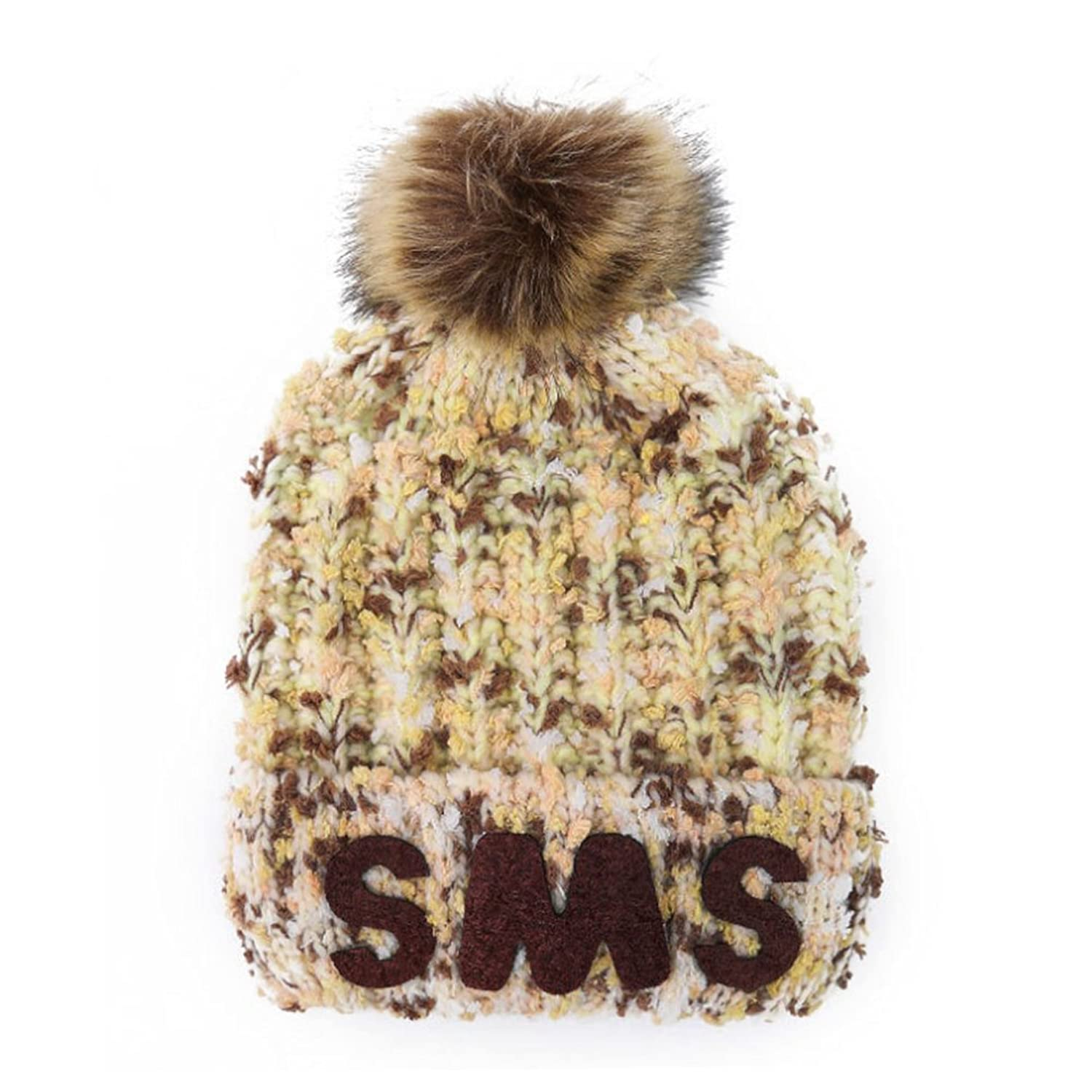 Sitong women 's fashion floral plus cashmere wool knitted wool ball caps