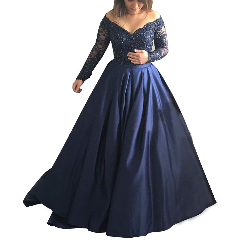 Navy bluee Jdress Women's Long Evening Dress Lace Sleeve Off The Shoulder Ball Prom Gowns