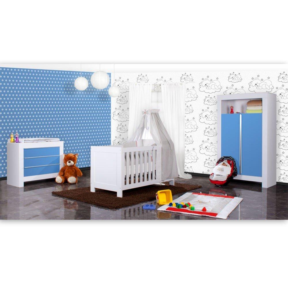 Babyzimmer Felix in weiss/blau 19 tlg. mit 2 türigem Kl + Sleeping Bear in grau