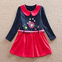 AMSKY? Baby Girl Clothes Winter,Toddler Baby Girl Long Sleeve Dot Belt Floral Flower Party Dress Outfits Clothes
