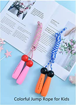 Fitness Jump Ropes for Kids and Adults Great for Party Favor /& Indoor Outdoor Fun Adjustable 9.2ft Cotton Skipping Ropes with Wooden Handle