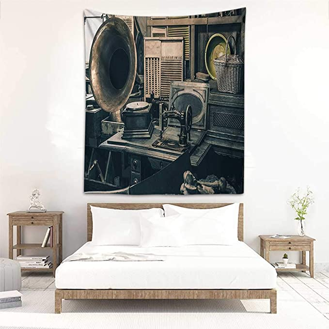 Godves Tapestry Hippie Antique Decor Máquina de Coser Antigua de ...