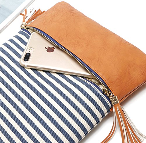 Crossbody Shoulder Bag,Messenger Bag Handbag with Double Zipper for Women Lady Girls by Ubags (Black Stripe) by Ubags (Image #4)