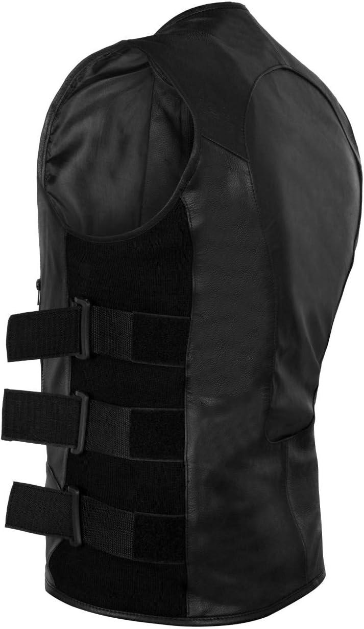 8XL 2Fit Mens Swat Motorcycle Biker Leather Vest with Adjustable sides
