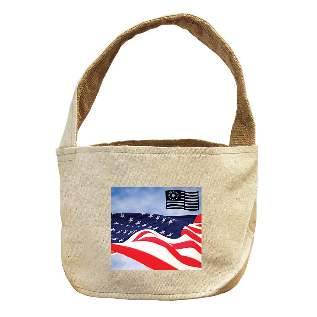 Style in Print America's Flag Old Glory Canvas and Burlap Storage Basket