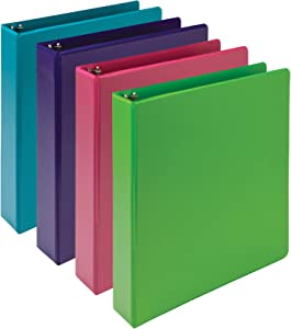 Samsill Earth's Choice, Durable Fashion Color 3 Ring View Binder, 1.5 Inch Round Ring, Up to 25% Plant Based Plastic, Eco-Friendly, USDA Certified Biobased, Multi Color Bulk Binder 4 Pack, (MP48659)