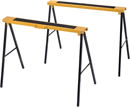 2 Pack Heavy Duty Saw Horse Steel Folding Legs Portable Sawhorse Pair Safe Tool