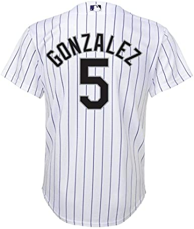 Outerstuff Carlos Gonzalez Colorado Rockies White Youth Cool Base Home Replica Jersey