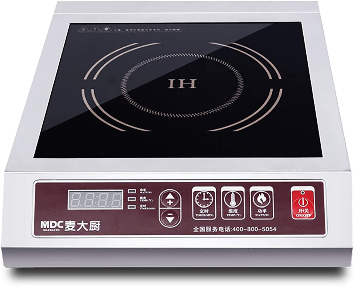 MDC 3500W Induction Cooktop Commercial Induction Cookware Stove Stainless Steel Electric Countertop Burner Hot Plate with Digital Display Panel (Touch Button)
