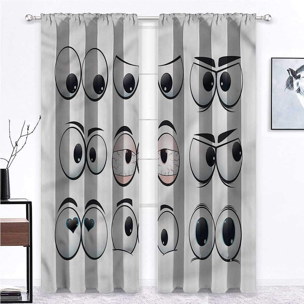 GugeABC Blackout Window Curtain Eye 2 Rod Pocket Curtain Panels Cartoon Expression Set 84 x 96 Inch (2 Panels)