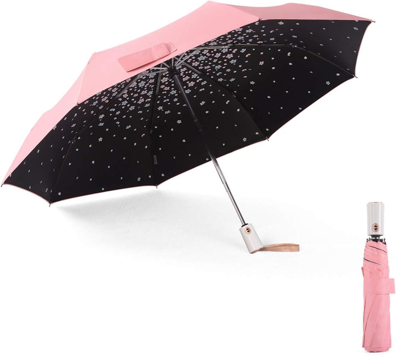 Meiyijia Paraguas Plegable, Doble-Uso Paraguas del Sol/Lluvia,Tela Impermeable y Muy Resistente Conveniente para Viajes (Mujer Paraguas - Automatico - desdoblar 103cm)