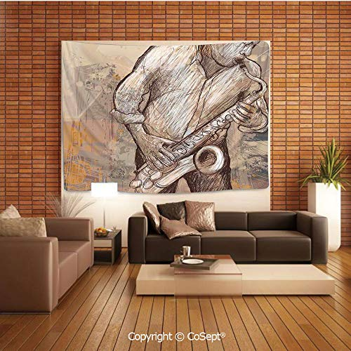 PUTIEN Tapestry Wall Hanging Wall Decor,Jazz Musician Playing The Saxophone Solo in The Street on Grunge Background Art Print,Tapestry Art Print Tapestry for RoomBrown Ecru