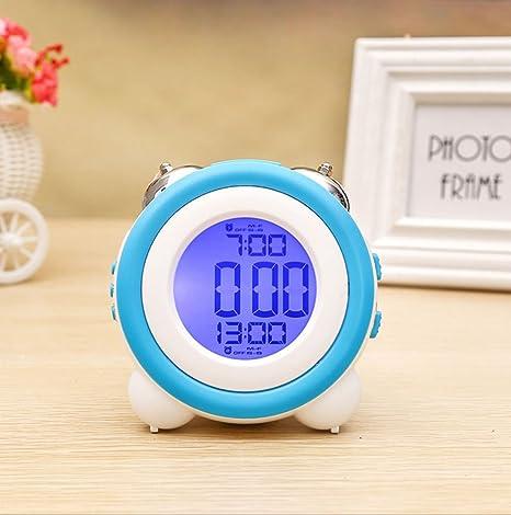 youowo Digital Twin Bell alarma reloj para niños reloj alarma de viaje pequeño reloj Números Grandes