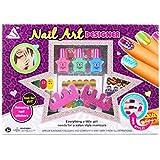 Shinehalo Star Shaped Nail Polishes Gift Box Fun Mani-Pedi Nail Art Kit with 9 Styles Nail Sticker Sheet Nail Files Water Based Peel-Off Nail Varnishes Full Nail Designer Set for Kids