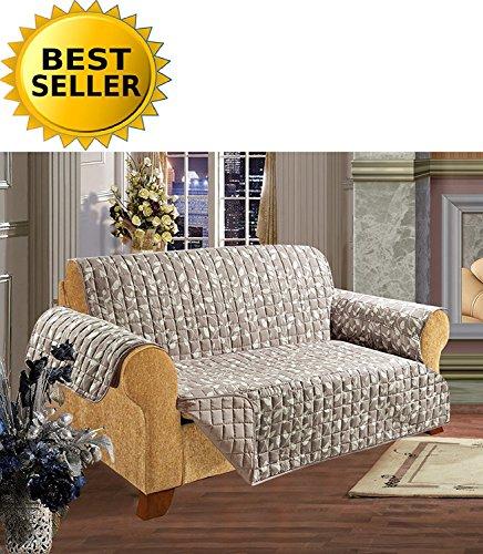 Futon Pet (Elegance Linen Leaf Design Quilted Water-Absorbent Microfiber Reversible Furniture Protector/Slipcover, Sofa Size, Beige)