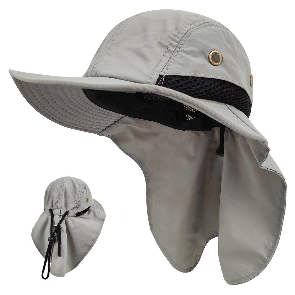 LETHMIK Kids Outdoor Sun Hat,Waterproof UV Protection Hiking Cap for Children Adjustable Hunting Fishing Hat with Neck Flap Grey