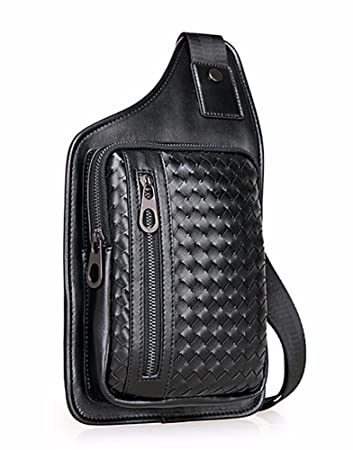 6fb15c60e5965 Everdoss Bauchtasche Business echt Leder Schultertasche Cross Body  Messenger Bag mit Schultergurt Herren Brusttasche