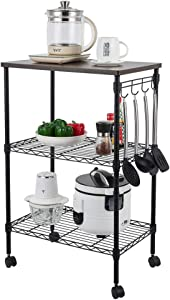 KAT 3-Tier Wire Kitchen Rolling Cart on Wheels Wooden Top Storage Metal Rack Organizer Adjustable Shelves Utility Microwave Stand, Food Service Cart w/Hooks,