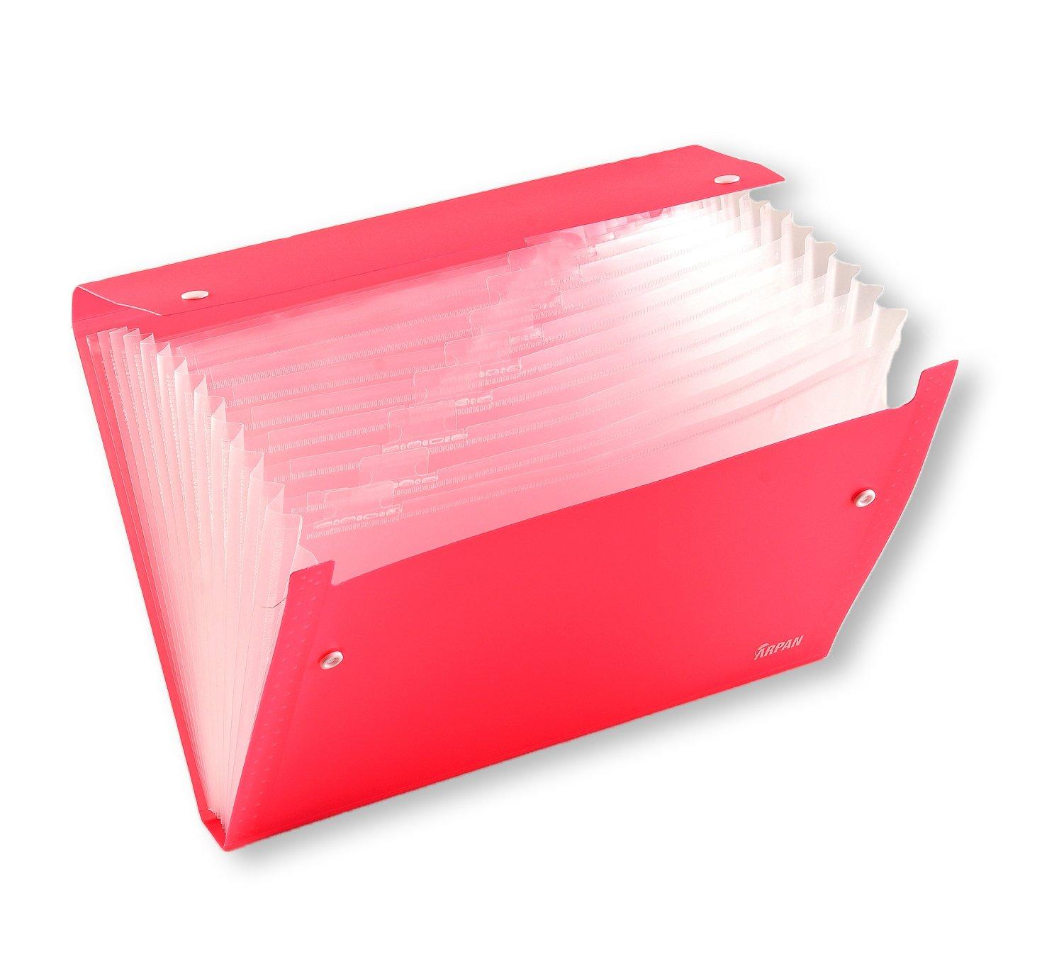 Arpan - Cartella portadocumenti a soffietto, formato A4, 13 scomparti, a bottoni A4 Pink
