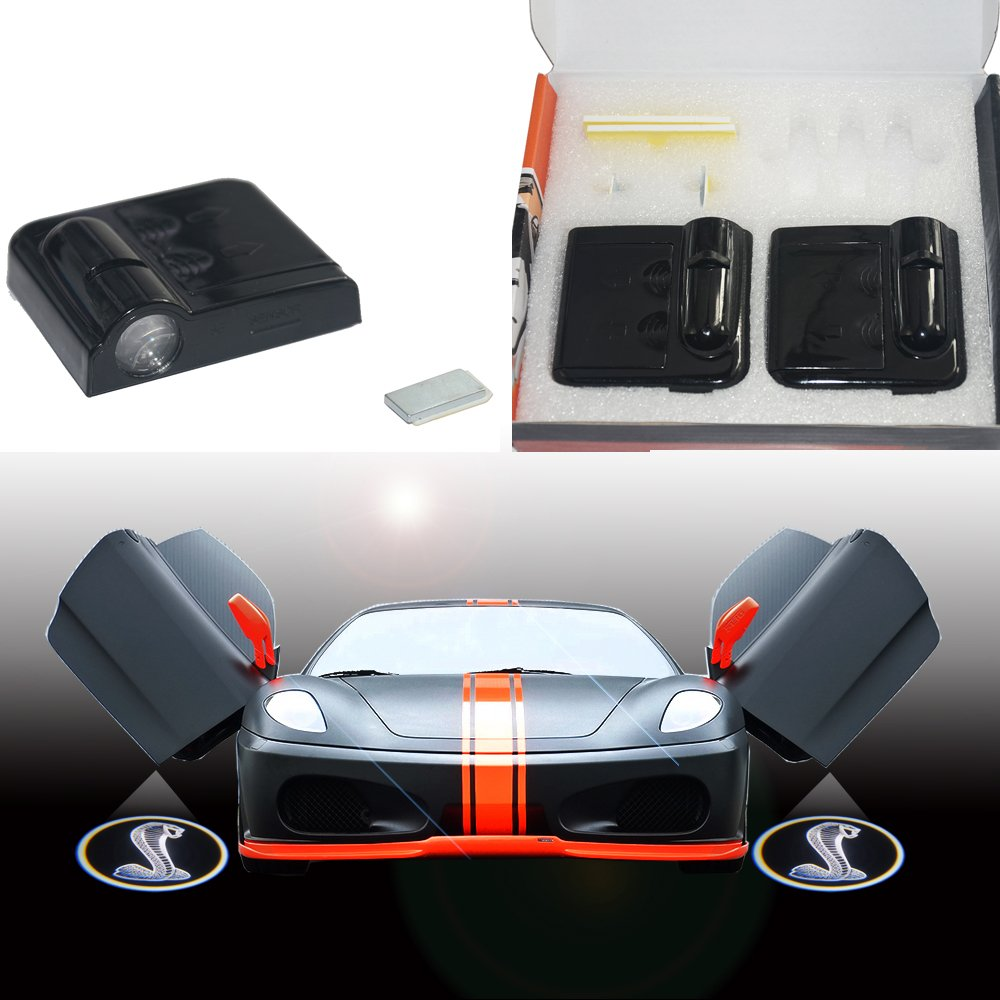 SHE'O® For Ford Shelby GT500 Naja Snake logo Wireless car door step CREE LED projection projector light courtesy welcome logo shadow ghost light lamp projector Black she'o