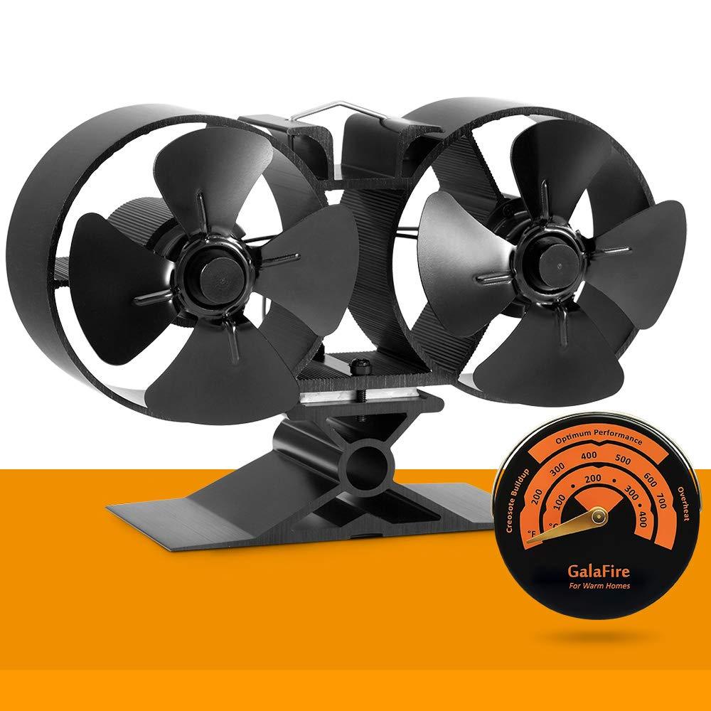 8 Blade Twin Motor Original Top Heat Powered Driven Eco Stove Fan 25% Fuel Cost Saving Aluminum Black for Gas Coal Pellet Log Wood Burner Fireplace Oven Heater Fire Burning