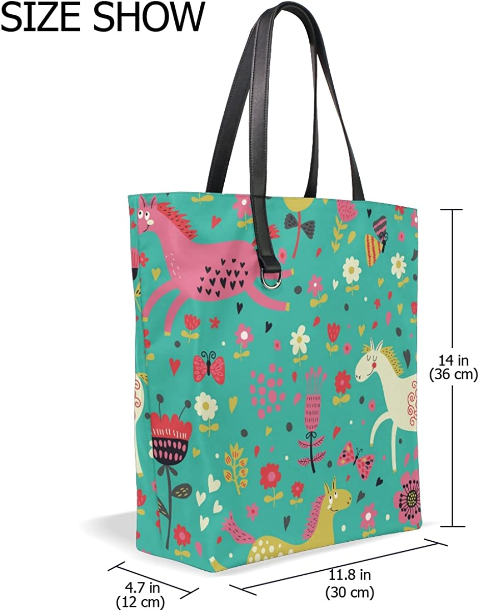 Handbags for Women Cute Cartoon Horse Flower Pattern Tote Shoulder Bag Satchel for Ladies Girls