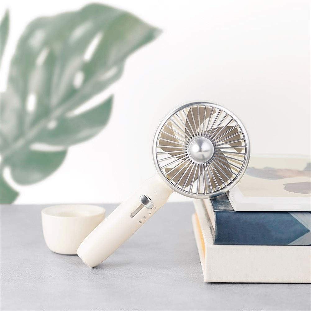 Mini Fan Portable Desktop Fan 5 Blades Retro Portable Cooling Fan 2000mAh 3 Levels Wind Speed Slide Switch Handy Fan USB Rechargable Color : White