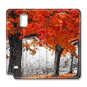 Brain114 Fashion Style Case Design Flip Folio PU Leather Cover Standup Cover Case with Autumn Series Pattern Skin for Samsung Galaxy Note 4