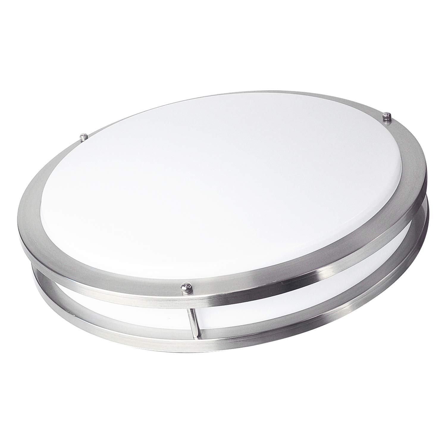 OSTWIN 18'' Large Size LED Ceiling Light Fixture Flush Mount, Dimmable, Round 28 Watt (180W Repl.) 5000K Daylight, 1960 Lm, Nickel Finish with Acrylic Shade ETL and Energy Star Listed
