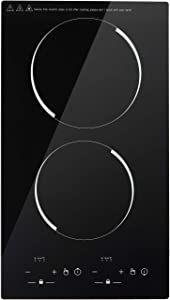 Electric Induction Cooktop, 110V Portable Double Countertop Burner with Digital Black Crystal LED Screen, Built-in Induction Burner Stove top, 9 Power Levels, Child Safety Lock, 120Mins Timer, Sensor Touch Control