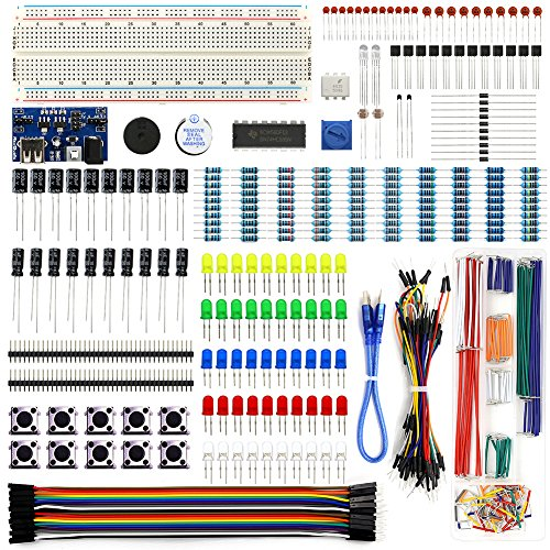 Electronics Component Fun Kit w/ Power Supply Module, Jumper Wire, 830 tie-points Breadboard, Precision Potentiometer ,Resistor for Arduino, Raspberry Pi, STM32
