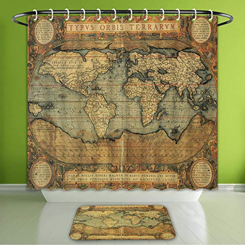 Waterproof Shower Curtain and Bath Rug Set Wanderlust Decor 16Th Century Map of The World History Adventure Boundaries Car Bath Curtain and Doormat Suit for Bathroom Extra Wide Size 78