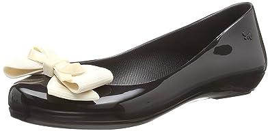 Flats Zaxy Ballerines Femmes Contrast Pop Noir Bow Ribbon Chaussures wCw0q4S