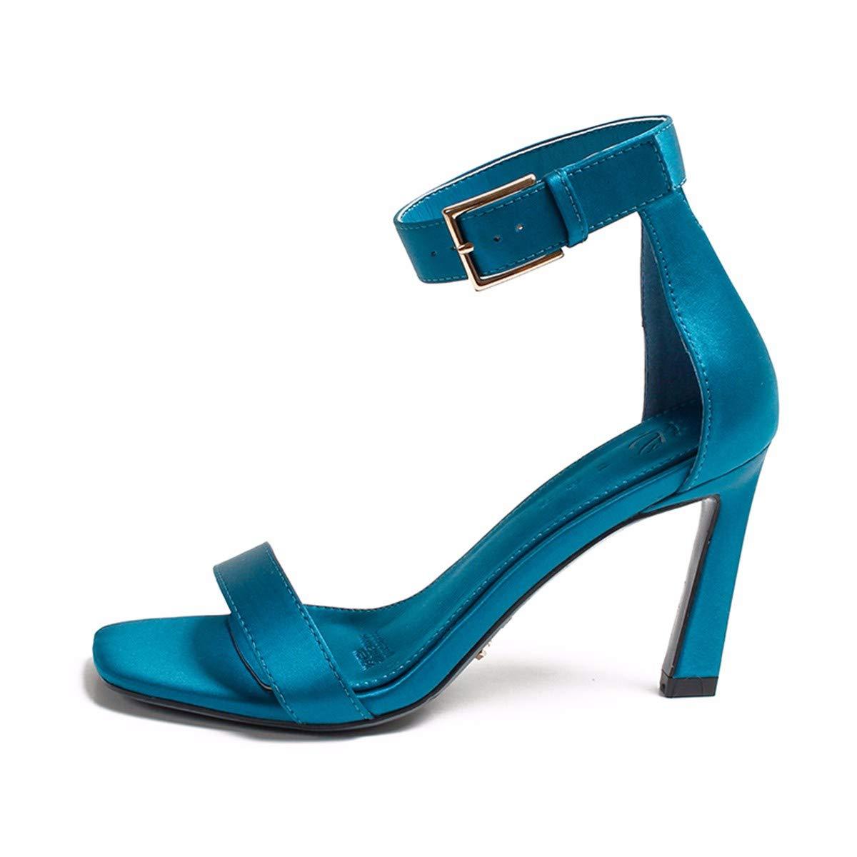 KPHY Damenschuhe/Sommer Damenschuhe Katze Und Schuhe Gürtel 8Cm Hochhackigen Schuhe Und Dünne Sohle Die Den Sandalen.39 Blaue Farbe - fd349a