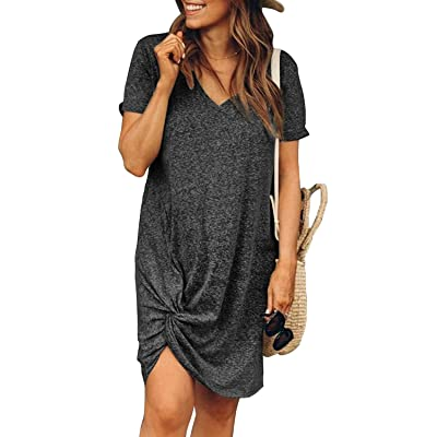 Dearlovers Womens Short Sleeve Tshirt Dresses Side Knot Mini Dress at Women's Clothing store