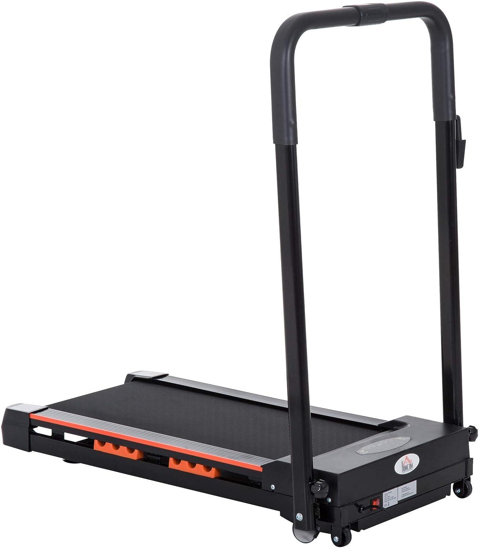 HOMCOM Cinta Andadora con Botón de Emergencia Pantalla LCD Mando a Distancia 1-6 km/h Potencia de Motor 380W Ahorra Espacio 101x54x105 cm Negro