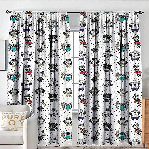 NUOMANAN Blackout Curtains for Bedroom Superhero,Animal Owl Dear Fox Cat Penguin Raccoon Bear in Superhero Costumes Print,White Seal Brown,Darkening and Thermal Insulating Draperies 120