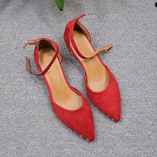 de la de Fina Huecos Zapatos Gamuza de en Hebilla de Afilada Medio Verano Zapatos gules Boda Individuales Talón Cabeza Boca GTVERNH con wPqZn8p5fw
