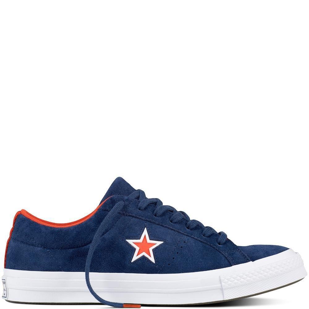 Converse Unisex-Erwachsene Lifestyle One Star OX Suede Fitnessschuhe, Schwarz  44 EU|Blau (Navy/White/Bright Poppy 410)