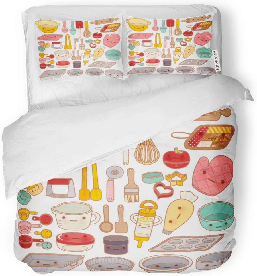 SanChic Duvet Cover Set Collection of Lovely Pastry Tool and Equipment Cute Decorative Bedding Set with 2 Pillow Cases Full/Queen Size