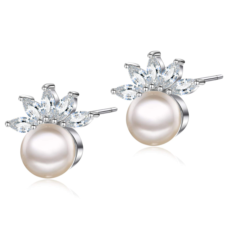 EGOO& YAMEE 18K Cz Stud Earrings Rose Gold Plated Halo Cubic Zirconia Round Cut Stud Earring for Women 10mm EY-E-Flower-181001