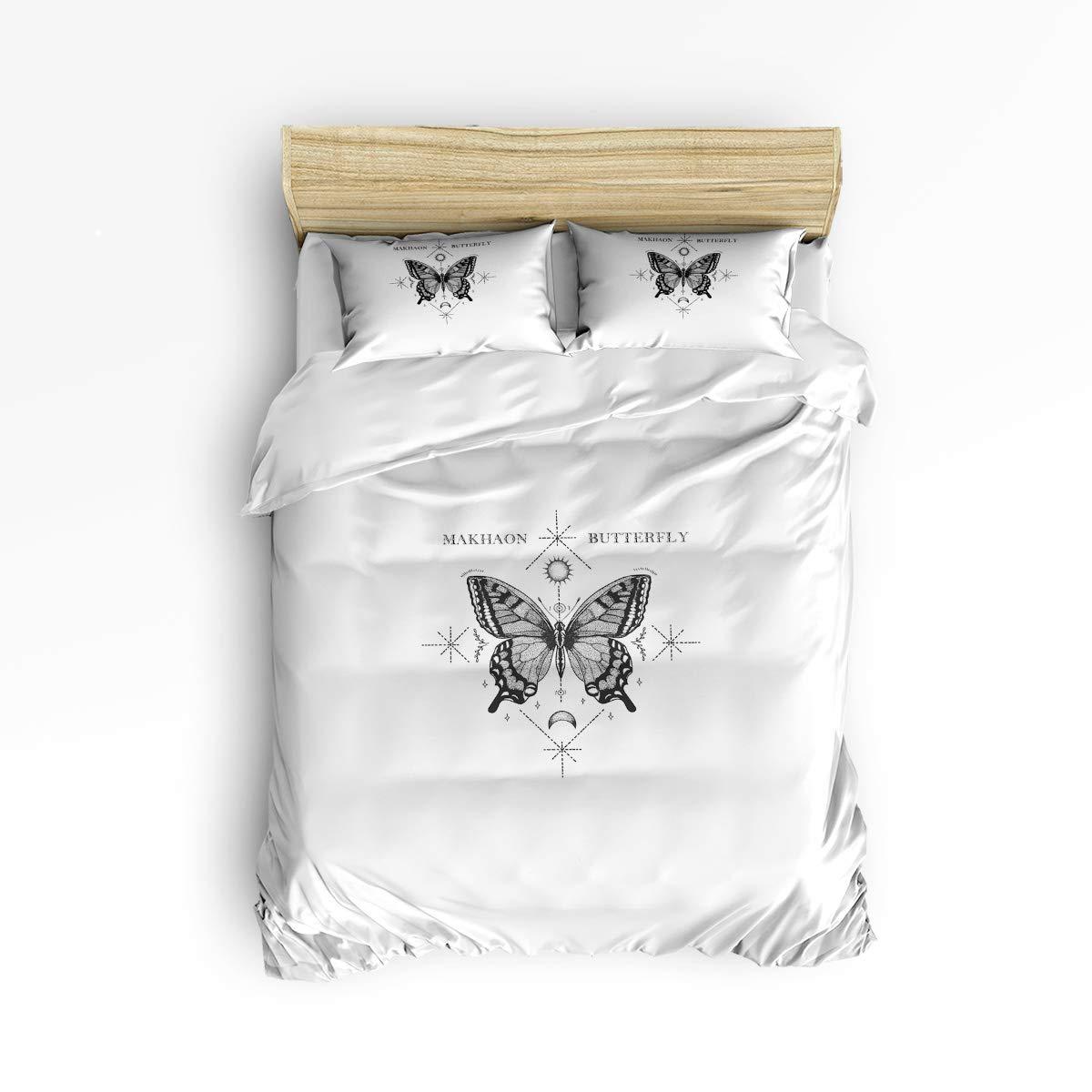 EZON-CH キングサイズ 掛け布団カバーセット 快適寝具セット 手描き バタフライ 白黒 ソフトベッドセット 大人 ティーンキッズ 女の子 男の子用 掛け布団カバー1枚 ベッドシーツ1枚 枕カバー2枚 B07KFJZBXD