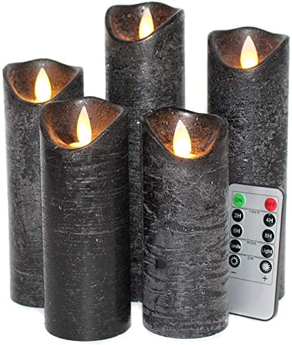 YAMATE Black Flameless Candles ,Battery Operated LED Pillar Candles with10 Keys Remote Control and 2 4 6 8-hours Timer Function for Halloween Decor Set of 5