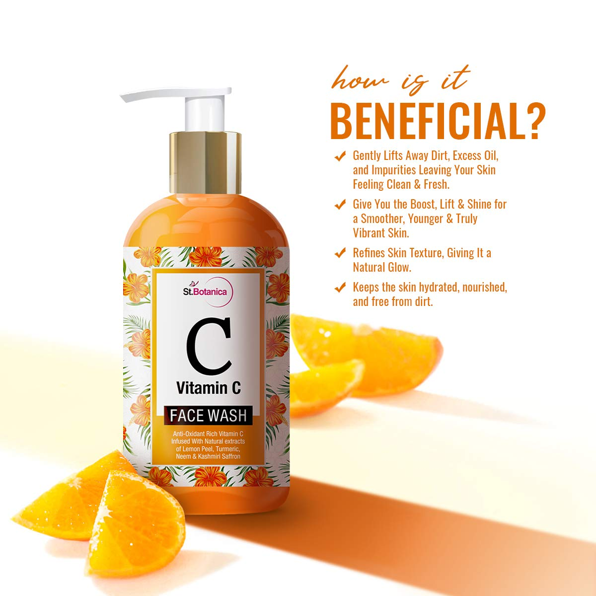 St Botanica Vitamin C Face Wash - With Lemon, Turmeric, Neem and Kashmiri Saffron