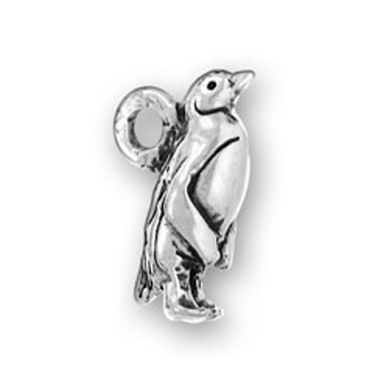 Sterling Silver 7 4.5mm Charm Bracelet With Attached 3D Penguin Bird Charm