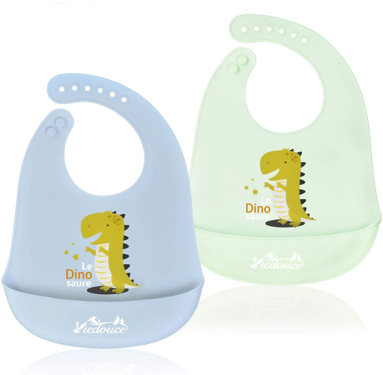 Viedouce Baby Bibs Silicone Toddler Bibs with Food Catcher Pocket, Blue Mint 2 Pack