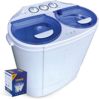 Garatic Portable Compact Mini Twin Tub Washing Machine w/Wash and Spin Cycle, Built-in Gravity Drain, 13lbs Capacity For Camping, Apartments, Dorms, College Rooms, RV's, Delicates and more