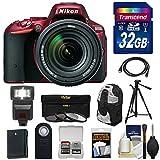 Nikon D5500 Wi-Fi Digital SLR Camera & 18-140mm VR DX AF-S Lens (Red) with 32GB Card + Backpack + Battery + Flash + Tripod + Filters + Kit